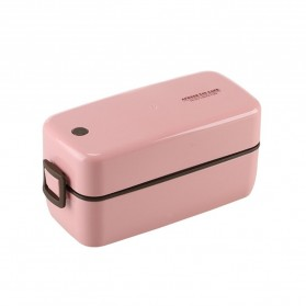 AFRESH Kotak Makan Lunch Bento Box Food Container Double Layer Soup Bowl - AF365 - Pink