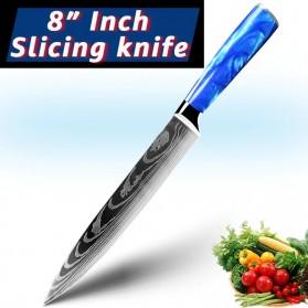 MYVIT Pisau Dapur Kitchen Damascus Pattern Slicing Knife 8 Inch - LFG56 - Blue