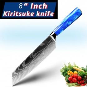MYVIT Pisau Dapur Kitchen Damascus Pattern Kiritsuke Knife 8 Inch - LFG56 - Blue