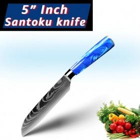 MYVIT Pisau Dapur Kitchen Damascus Pattern Santoku Knife 5 Inch - LFG56 - Blue