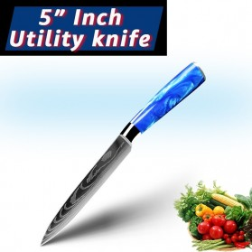 MYVIT Pisau Dapur Kitchen Damascus Pattern Utility Knife 5 Inch - LFG56 - Blue