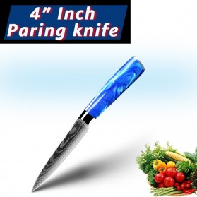 MYVIT Pisau Dapur Kitchen Damascus Pattern Paring Knife 4 Inch - LFG56 - Blue