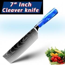 MYVIT Pisau Dapur Kitchen Damascus Pattern Cleaver Knife 7 Inch - LFG56 - Blue
