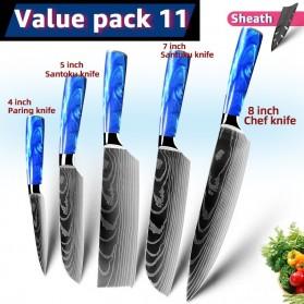 MYVIT Pisau Dapur Kitchen Damascus Pattern 5 in 1 - LFG56 - Blue