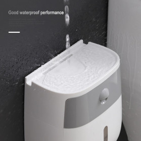 BAISPO Kotak Tisu Tissue Storage Toilet Paper Box Dispenser Double Layer - E1804 - White/Black - 11