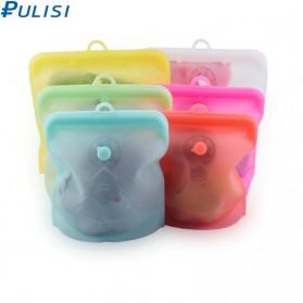 PULISI Kantong Plastik Makanan Silicone Food Bag Reuseable Leakproof 1500ml - PB-S004 - Green