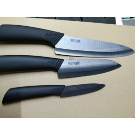 Xiaomi Mijia Huohou Nano Set Pisau Dapur Kitchen Knife Bahan Keramik 4 in 1 - HU0010 - Black - 5