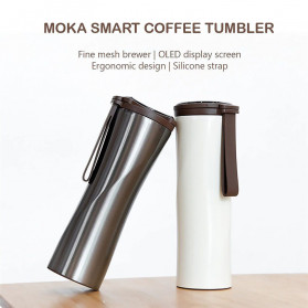 Xiaomi MOKA Botol Minum Travel Smart Coffee Tumbler OLED 430ml - S-U45CW - White