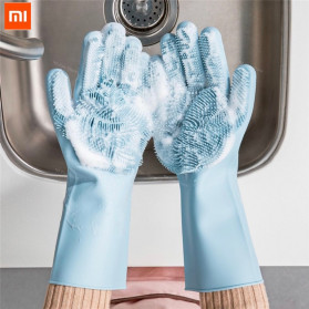 Xiaomi Mijia JJ Sarung Tangan Cuci Sikat Magic Silicone Cleaning Gloves HO004 - Blue - 1