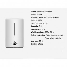 Xiaomi Deerma Touch Air Humidifier Ultrasonic Aromatherapy  5L - DEM-F628A - White - 7