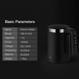 Xiaomi Viomi Teko Listrik Pemanas Air Electric Kettle Stainless Steel 1800W-  V-SK152B - Black - 7