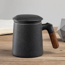 Xiaomi Pinztea Tea Cup Cangkir Keramik Gagang Kayu 380ML - Black - 1