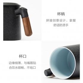 Xiaomi Pinztea Tea Cup Cangkir Keramik Gagang Kayu 380ML - Black - 3