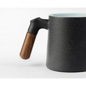 Xiaomi Pinztea Tea Cup Cangkir Keramik Gagang Kayu 380ML - Black - 4
