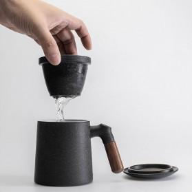 Xiaomi Pinztea Tea Cup Cangkir Keramik Gagang Kayu 380ML - Black - 5