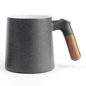 Xiaomi Pinztea Tea Cup Cangkir Keramik Gagang Kayu 380ML - Black - 6