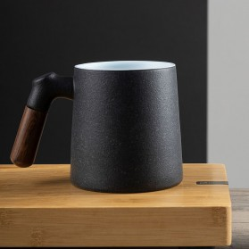 Xiaomi Pinztea Tea Cup Cangkir Keramik Gagang Kayu 380ML - Black - 7