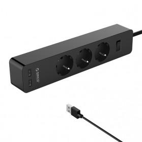 Orico Stop Kontak Power Strip 3 Plug EU with 2 USB Port 2.4A - GPC-3A2U - White - 3
