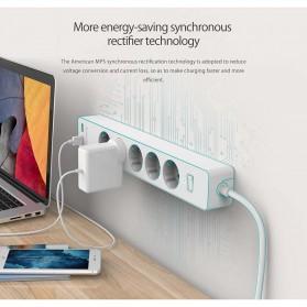 Orico Stop Kontak Power Strip 3 Plug EU with 2 USB Port 2.4A - GPC-3A2U - White - 11