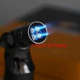 JOBON Korek Api Torch Lighter 4 Jet Flame Gas Butane - COB-659 - Silver - 2