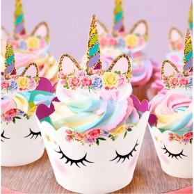 Hiasan Cup Cake Kue Model Unicorn 12 PCS - Multi-Color - 4