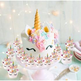Hiasan Cup Cake Kue Model Unicorn 12 PCS - Multi-Color - 6