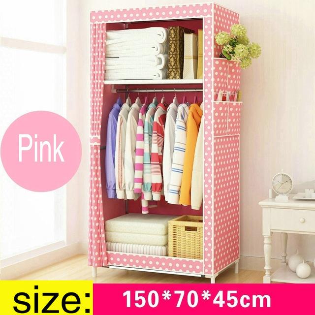Lemari Pakaian Kain Rakitan Diy 150x70x45cm Pink Jakartanotebook Com