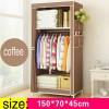 Lemari Pakaian Kain Rakitan DIY 150x70x45cm - Coffee