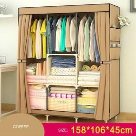 Lemari Pakaian Kain Rakitan DIY 158x106x45cm - Coffee