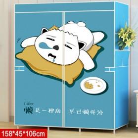 HappyLife Lemari Pakaian Kain Rakitan DIY 158x106x45cm - GY-05 - Blue