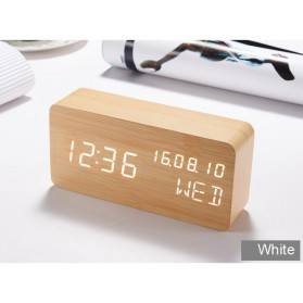 Jam Weker Alarm Kayu Digital Voice Control - TX602 - Yellow with White Side