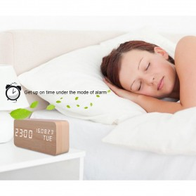 Jam Weker Alarm Kayu Digital Voice Control - TX602 - Yellow with White Side - 4