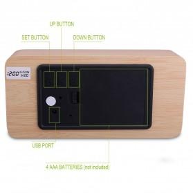 Jam Weker Alarm Kayu Digital Voice Control - TX602 - Yellow with White Side - 5