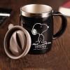 Gelas - Gelas Mug Insulated Stainless Steel Model Snoopy - 420ml - Black