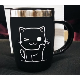 Gelas Mug Insulated Stainless Steel Model Cat - 420ml - Black