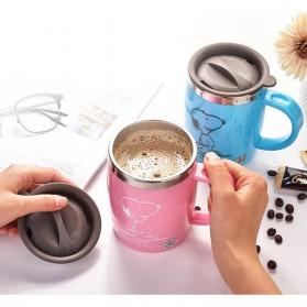 Gelas Mug Insulated Stainless Steel Model Cat - 420ml - Black - 6