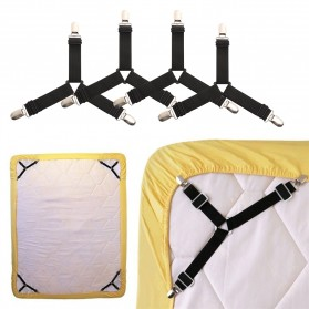 GCDHome Penjepit Ujung Sprei Kasur Bed Sheet Clip Holder 4 PCS - FS-1809 - Black