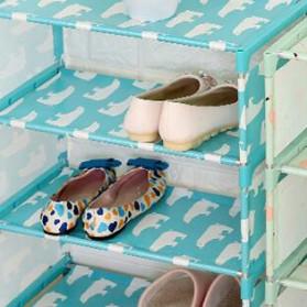 Rak Sepatu 4 Susun DIY Motif Beruang - LYJ - Blue - 4