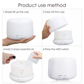 Taffware Air Humidifier Aromatherapy Oil Diffuser + 7 LED - HUMI H770 - White - 7