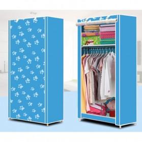 Lemari Pakaian Kain Rakitan DIY Single Slot 156 x 56 x 42 CM - Blue