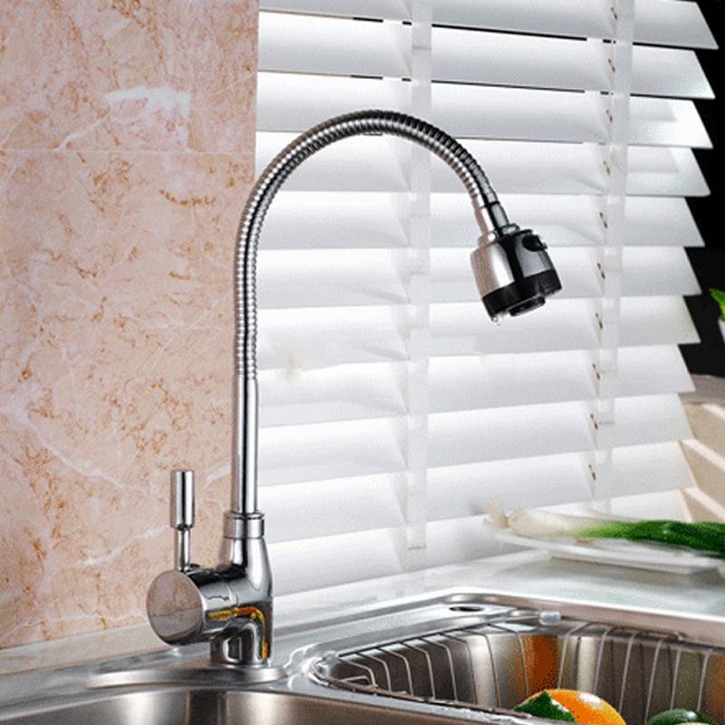 ... Kepala Keran Air Dapur Flexible Kitchen Shower Hot & Cold - Silver - 4 ...
