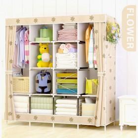 Furniture Rumah - ACTIONCLUB Lemari Pakaian Kain Rakitan DIY 170x167x39cm - GY-49 - Brown