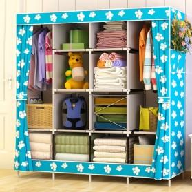 Furnitur Rumah - ACTIONCLUB Lemari Pakaian Kain Rakitan DIY 170x167x39cm - GY-49 - Blue