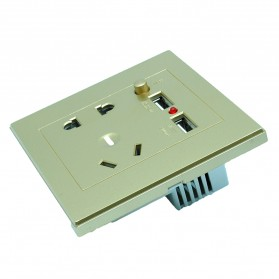 Stop Kontak Universal EU AU & 2 Port USB On/Off Switch - LC-24 - Golden - 2