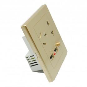 Stop Kontak Universal EU AU & 2 Port USB On/Off Switch - LC-24 - Golden - 3