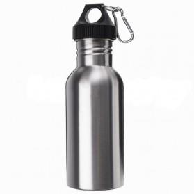 Botol Minum Olahraga Stainless Steel 500ml Dengan Karabiner - Silver