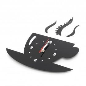 Jam Dinding Quartz Creative Design Model Cangkir Kopi - NS008 - Black - 2