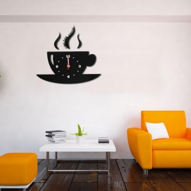 Jam Dinding Quartz Creative Design Model Cangkir Kopi - NS008 - Black - 4