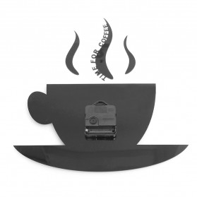 Jam Dinding Quartz Creative Design Model Cangkir Kopi - NS008 - Black - 7