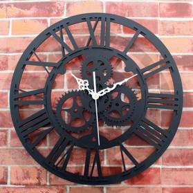Jam Dinding Quartz Creative Design Model European Retro Gear - NS016 - Black